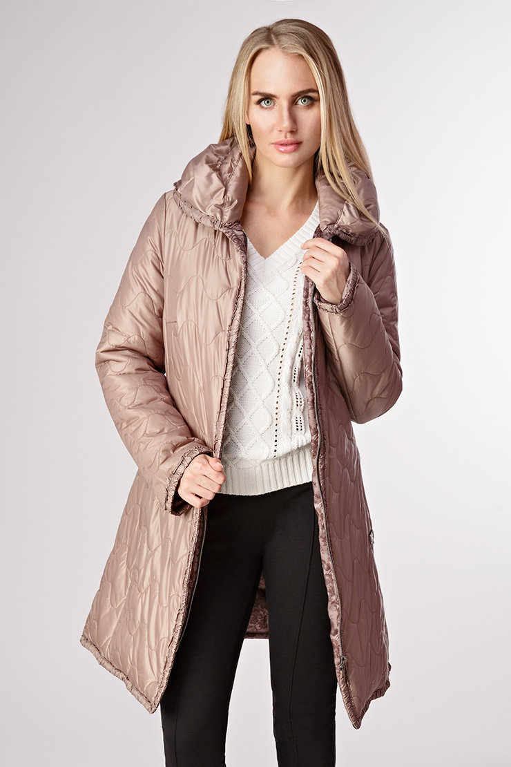 Стеганное демисезонное пальто на пуху Salco A_302/S25-бежевый