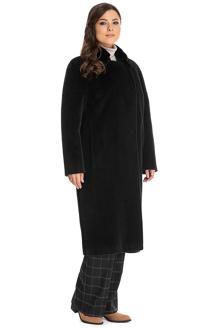 Длинное пальто из альпака с меховым воротником из норки фото