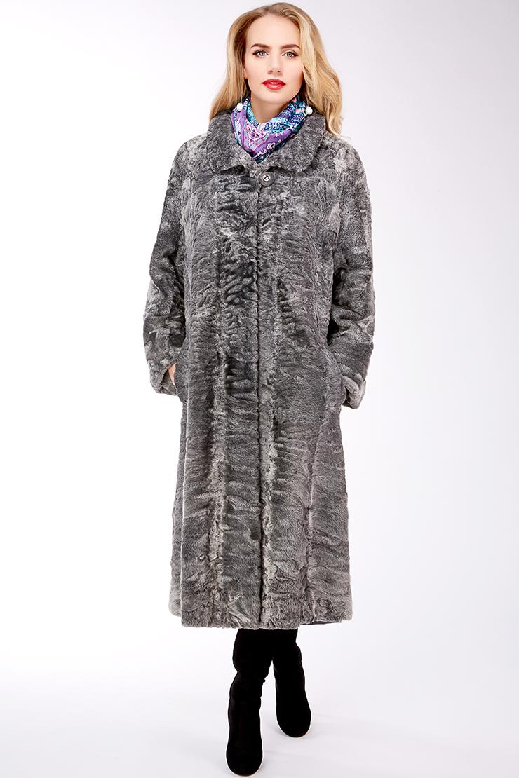 Серое длинное меховое пальто из каракуля