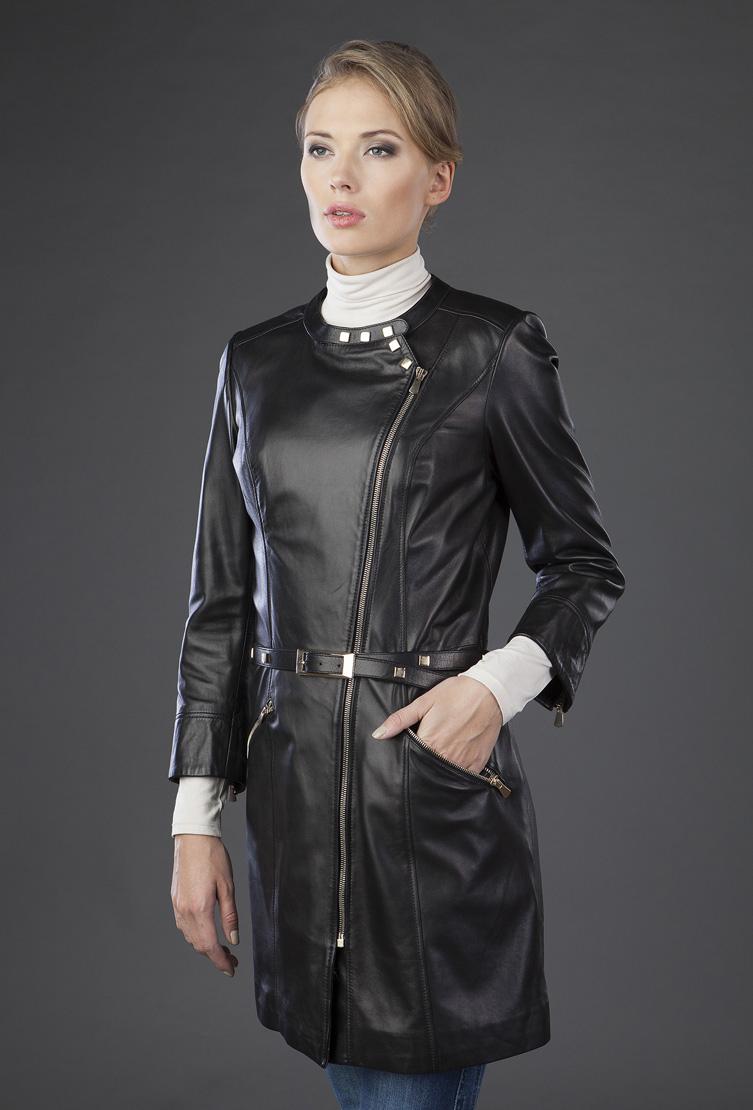 Кожаный черный плащ VESUTTI с косой молнией BZ-126/V01-черный
