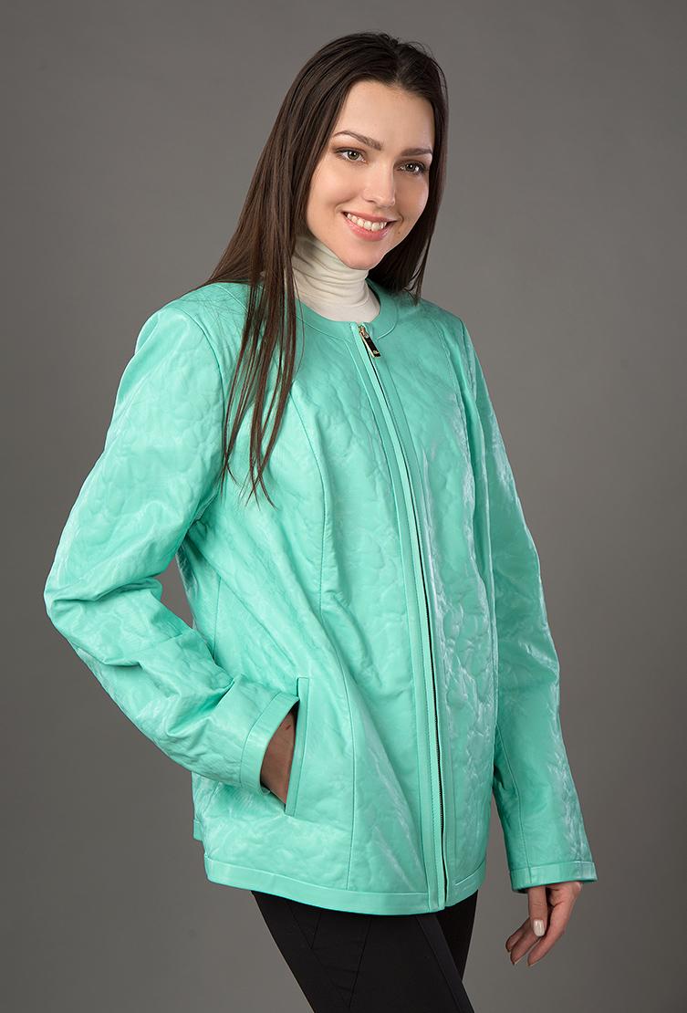 Весенняя куртка большого размера из кожи для женщин фото