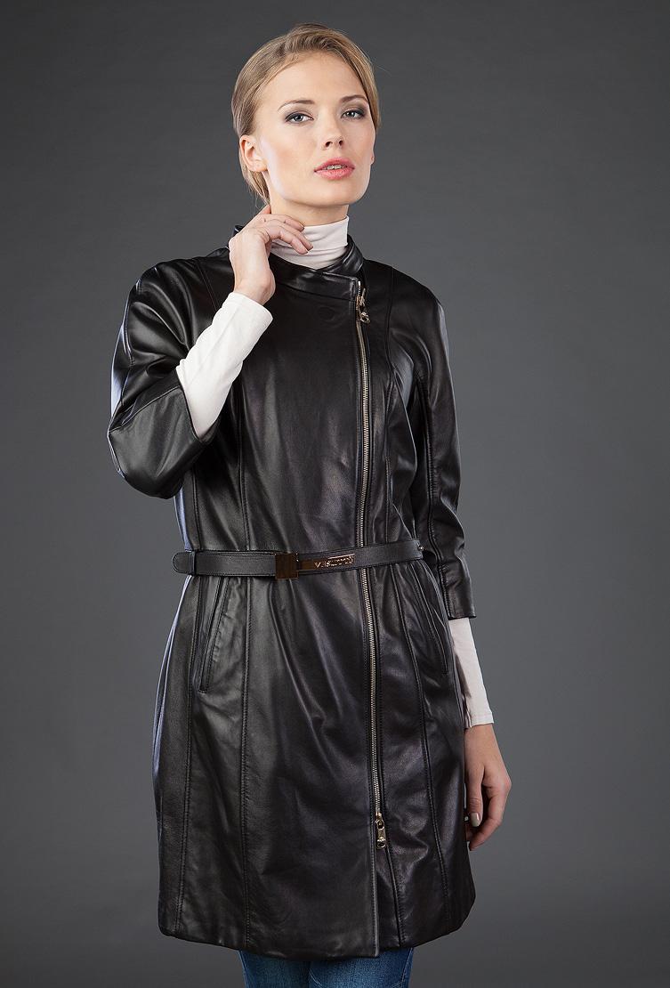 Кожаный плащ женский VESUTTI с рукавами три четверти