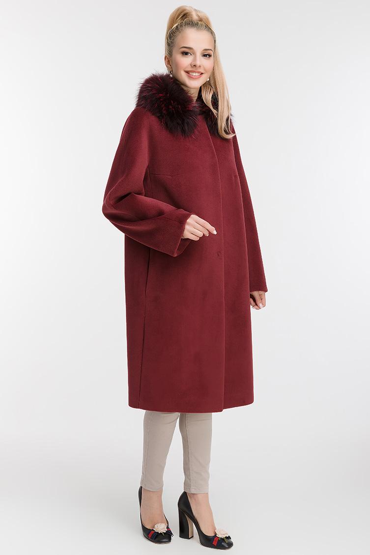 Женское пальто из шерсти и ангоры с меховым воротником фото