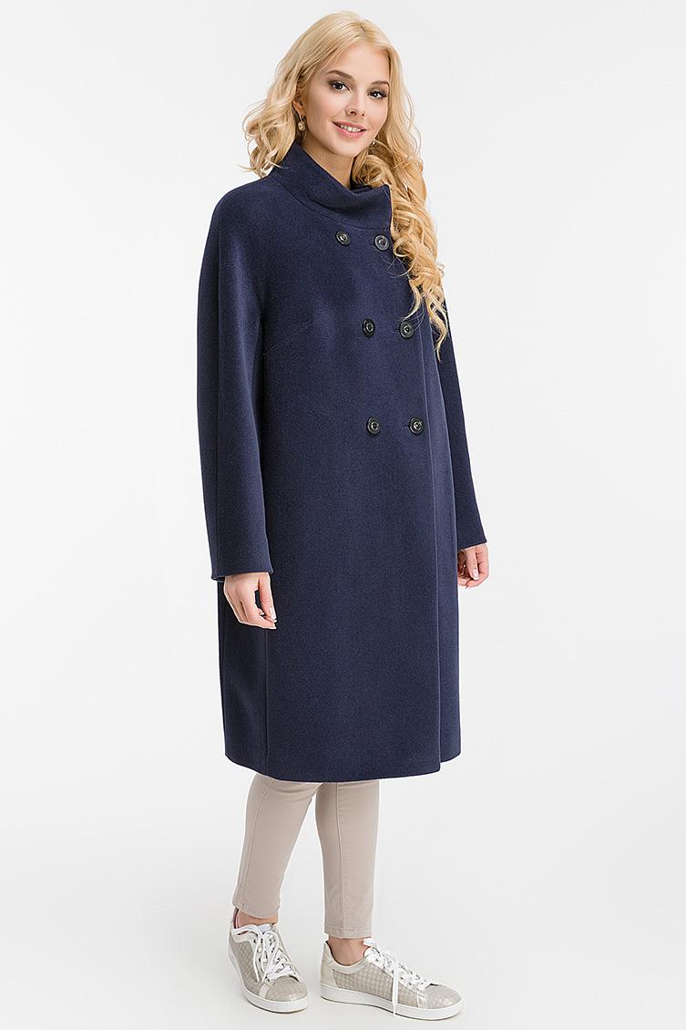Женское двубортное пальто без меха из ангоры и шерсти фото