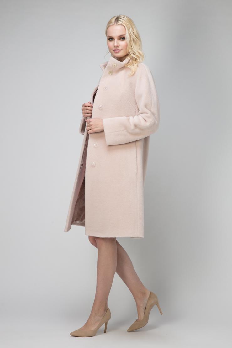Купить со скидкой Пальто трапеция из альпака с воротником стойкой