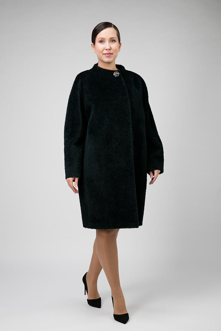 Пальто кокон из альпака на большой размер фото