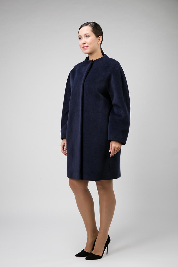 Шерстяное пальто средней длины для большого размера фото