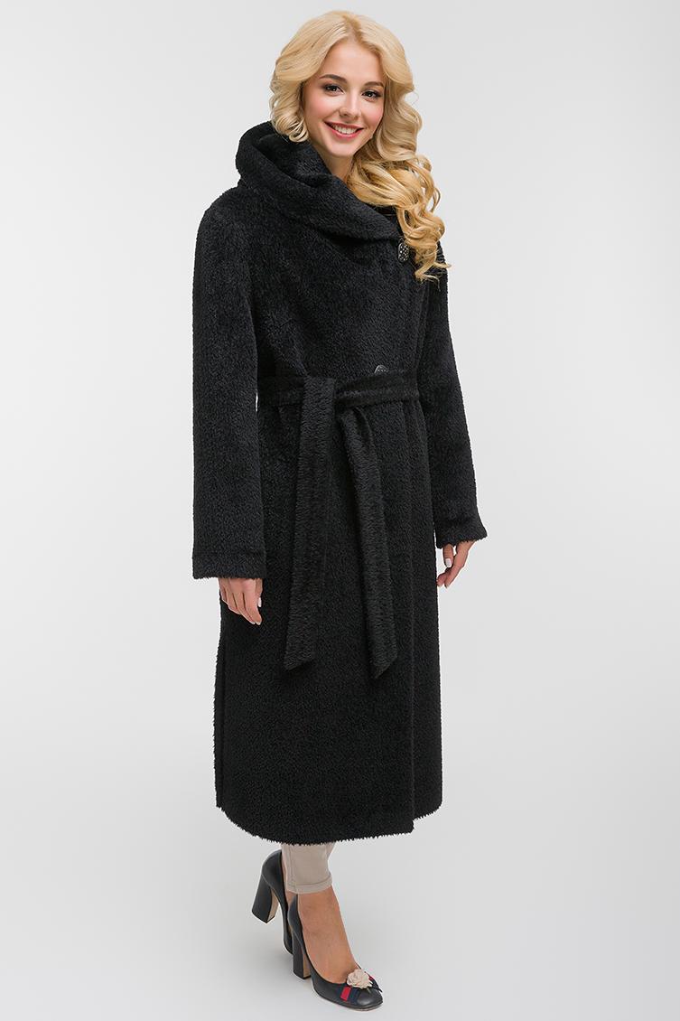 Прямое длинное пальто из альпака сури фото