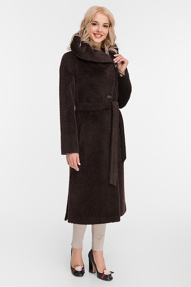 Женское длинное пальто с капюшоном из альпака сури фото