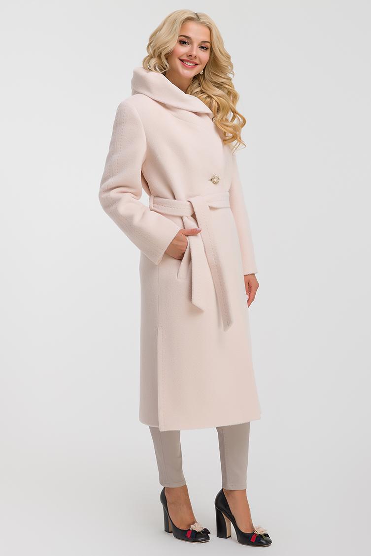 Длинное весеннее пальто из альпака с капюшоном