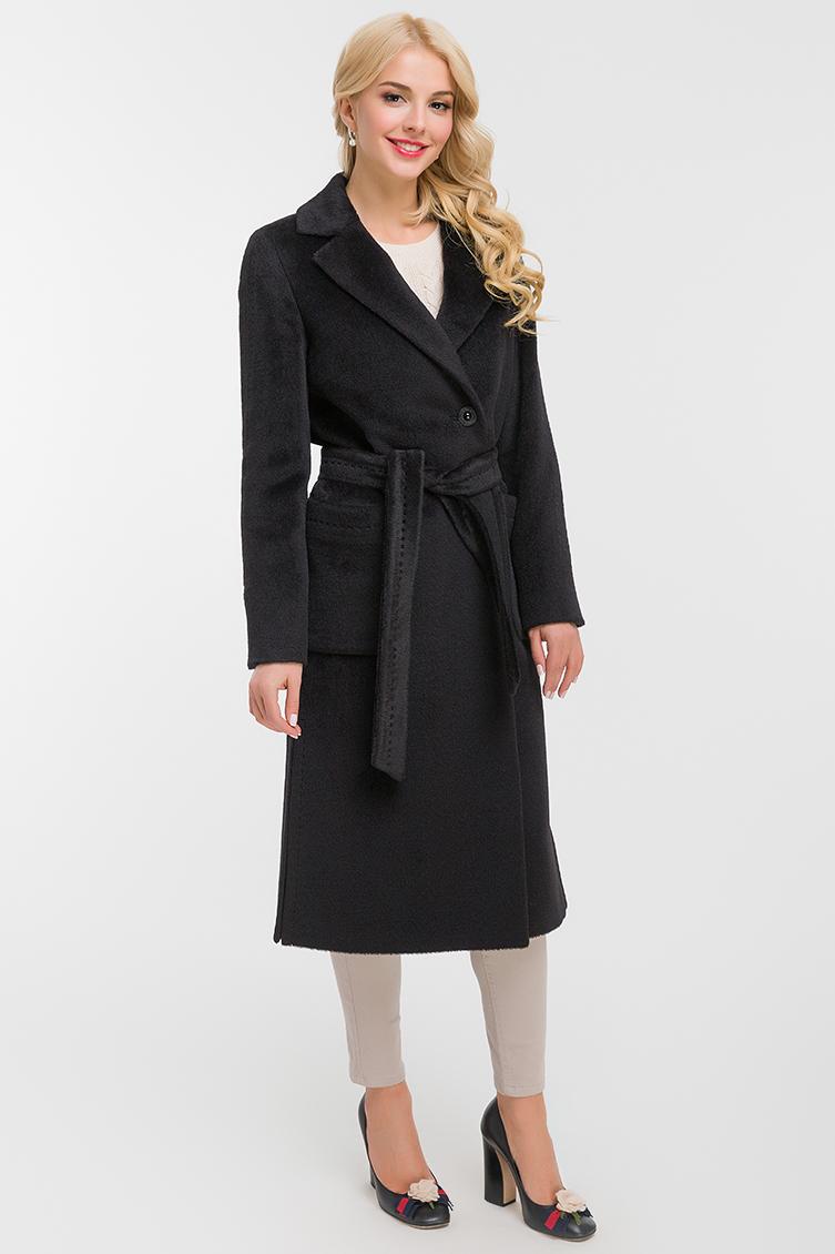 Классическое длинное женское пальто из альпака фото