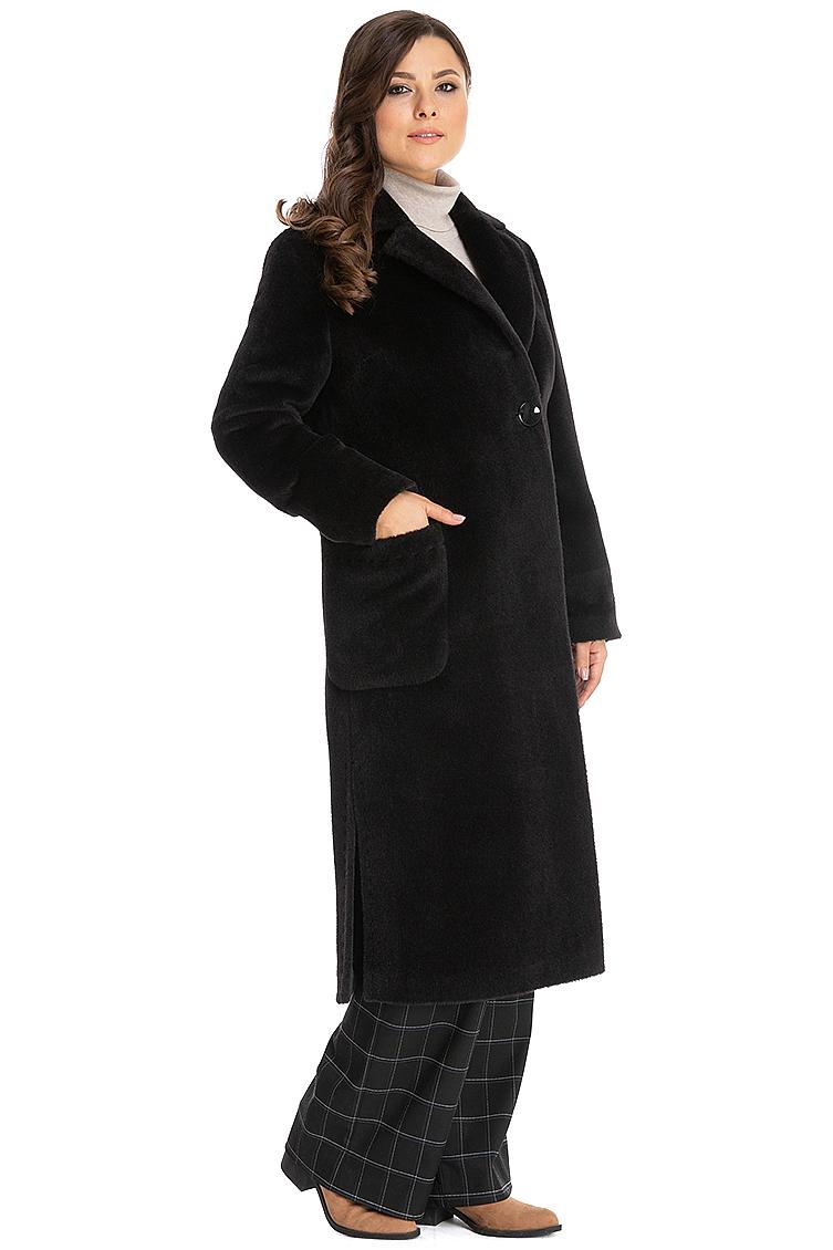 Длинное пальто из альпака на осень с английским воротником фото