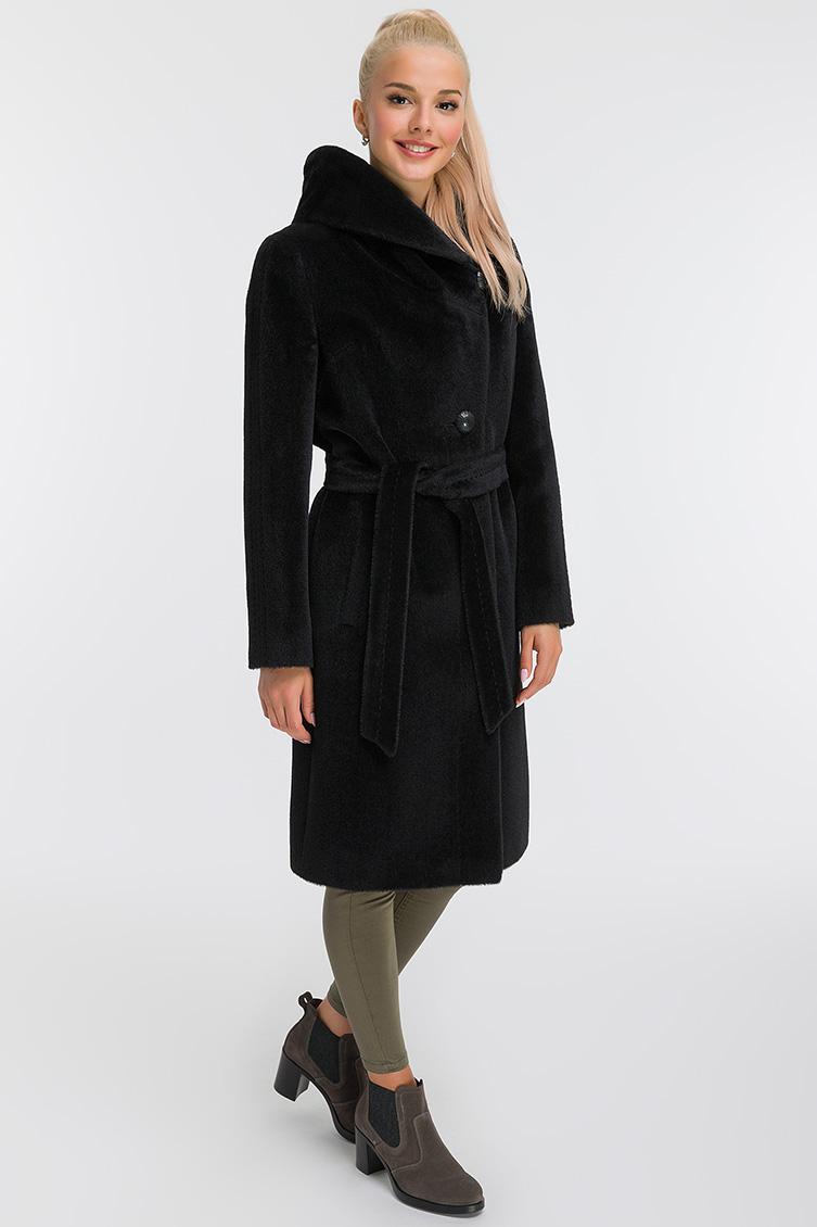 Длинное пальто из альпака с капюшоном фото