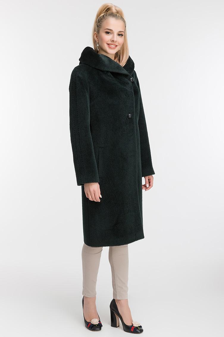 Длинное прямое пальто из альпака без меха фото