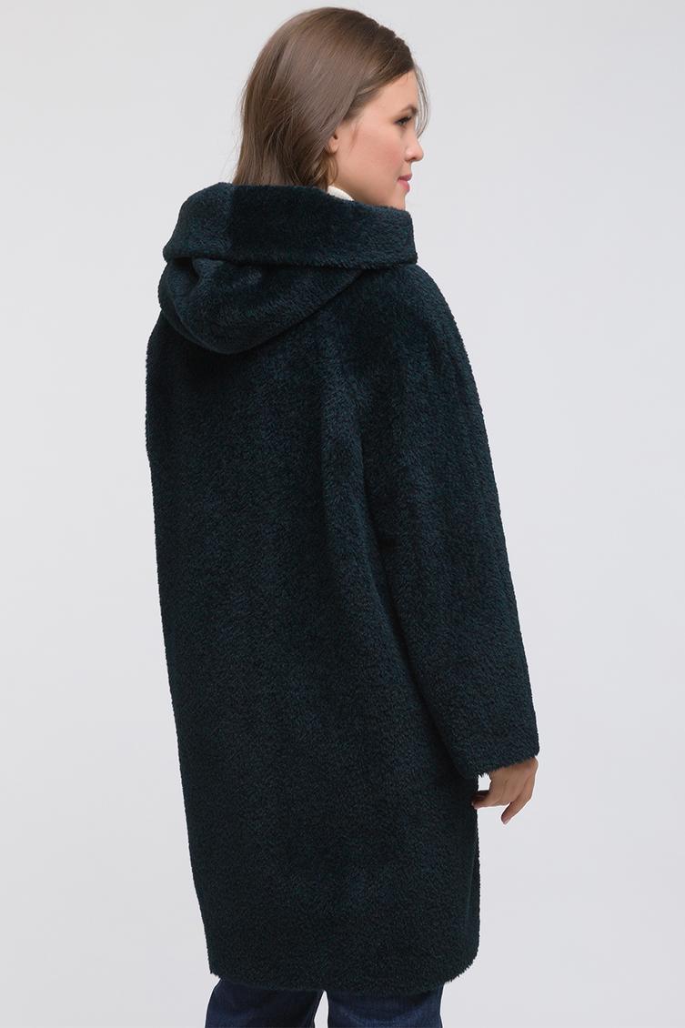 Женское пальто из альпака с капюшоном для больших размеров фото
