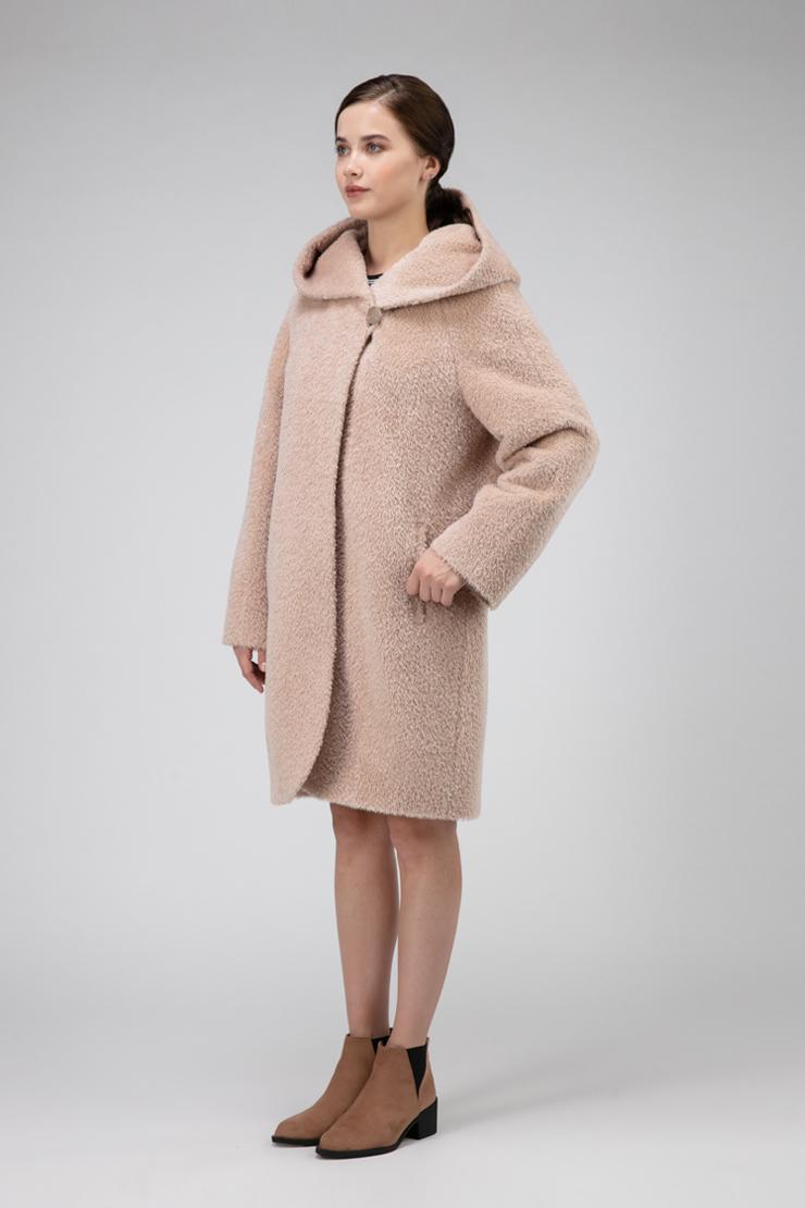 Стильное женское пальто из альпака сури с капюшоном, Elisabetta