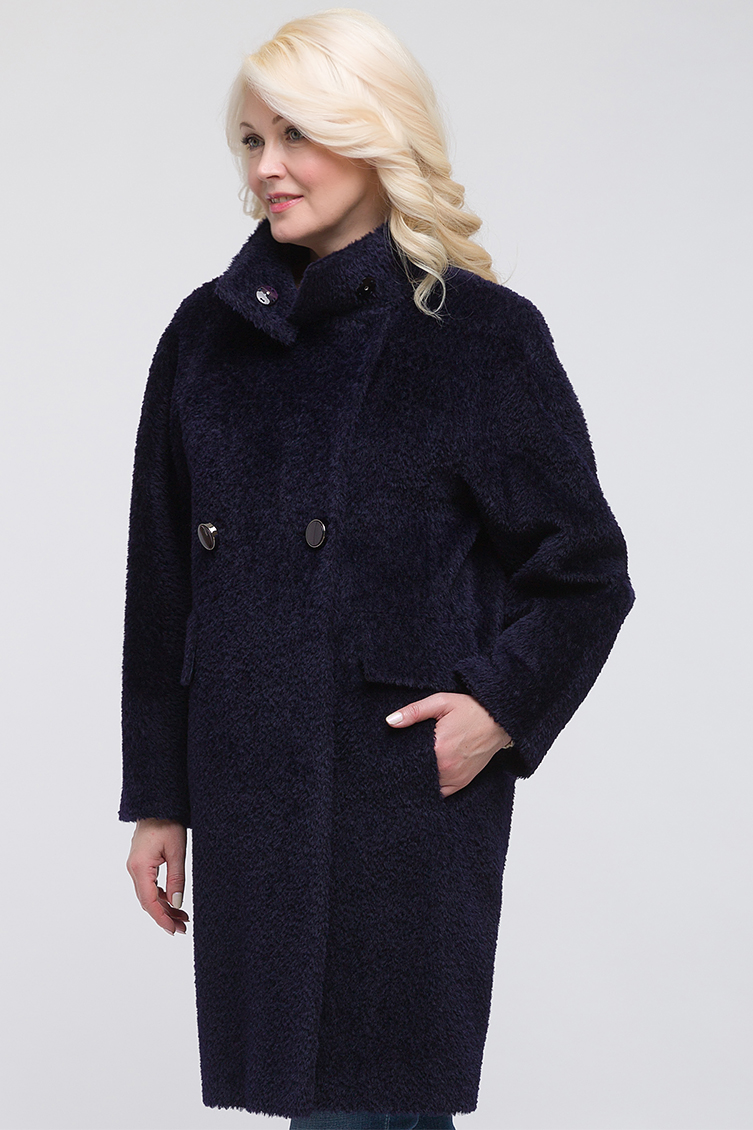 Двубортное пальто из альпака без меха О-силуэтаПальто<br>Двубортное пальто из альпака без меха О-силуэта<br>Цвет: темно-синий; Размер: 42, 46, 50; Состав: 52% - альпака сури, 48% - шерсть; подкладка - 55% вискоза, 45% полиэстер; Материал: 52% - альпака сури, 48% - шерсть; подкладка - 55% вискоза, 45% полиэстер;