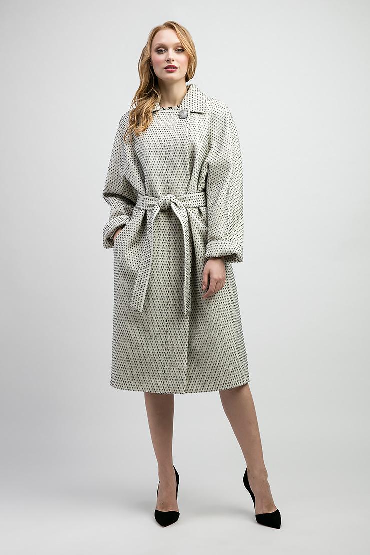 Демисезонное пальто из смесовой ткани (альпака, хлопок, шерсть) на большой размер Elisabetta E213/01-черно-белый