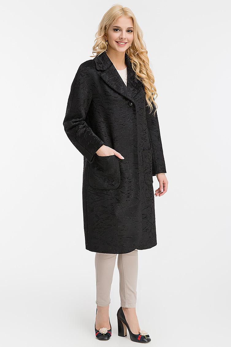 Фактурное пальто из сури альпака с английским воротником фото