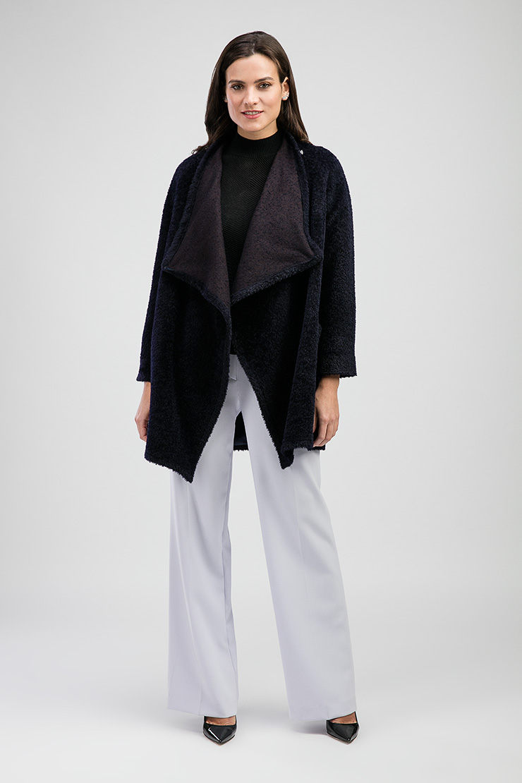 Короткое пальто из альпака российского производства Elisabetta E301/05-темно-синий