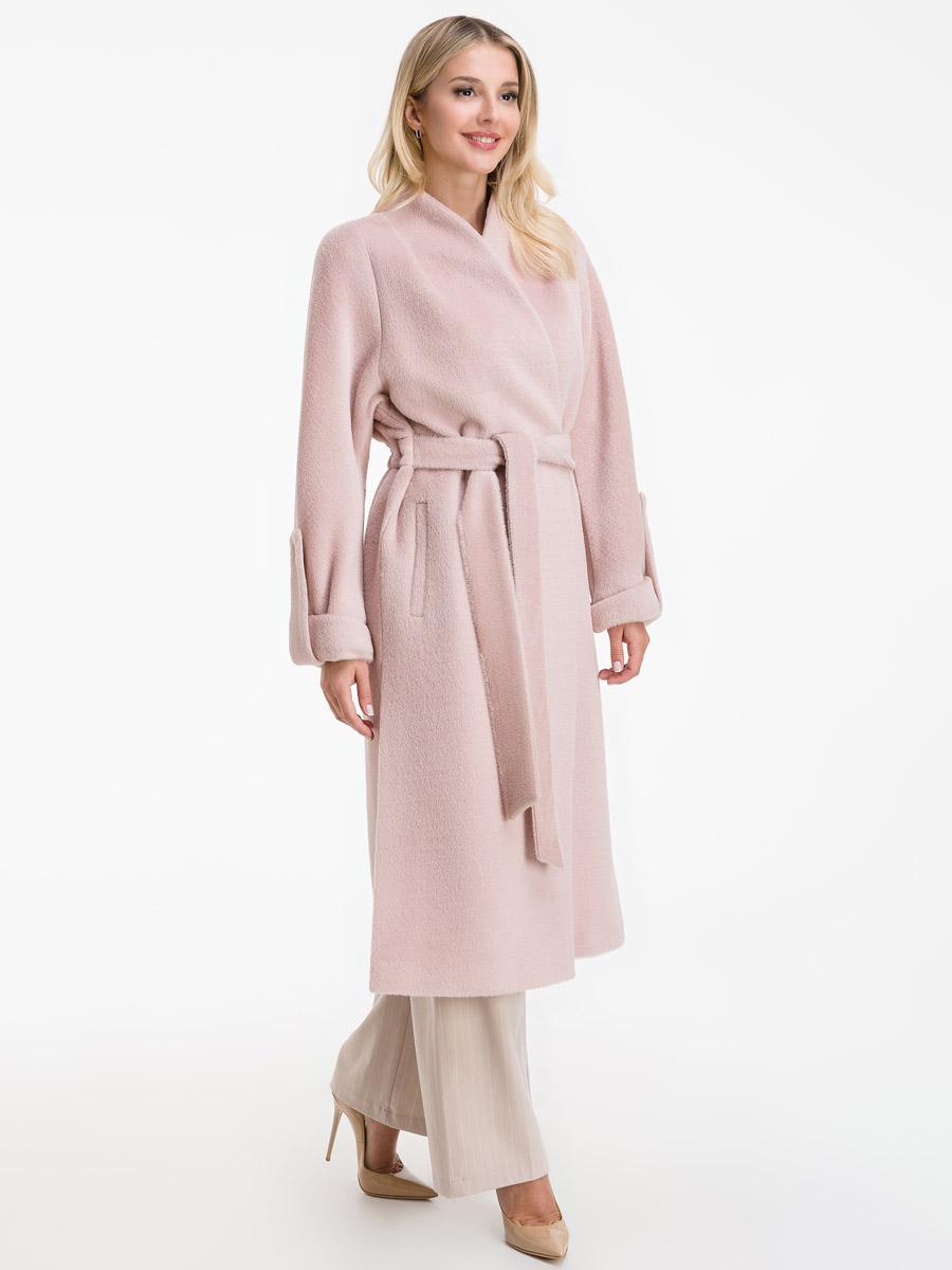 Длинное прямое пальто из альпака на запахе фото