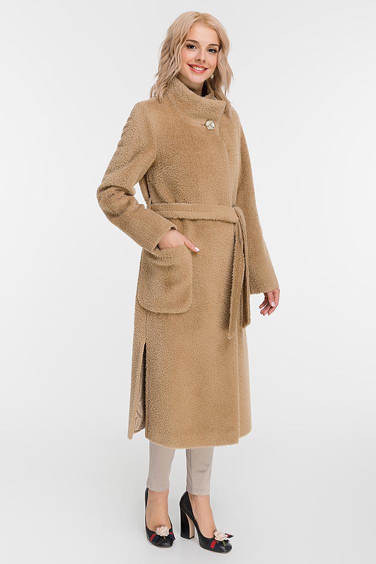 Длинное женское пальто на высокий рост с воротником-стойкой фото