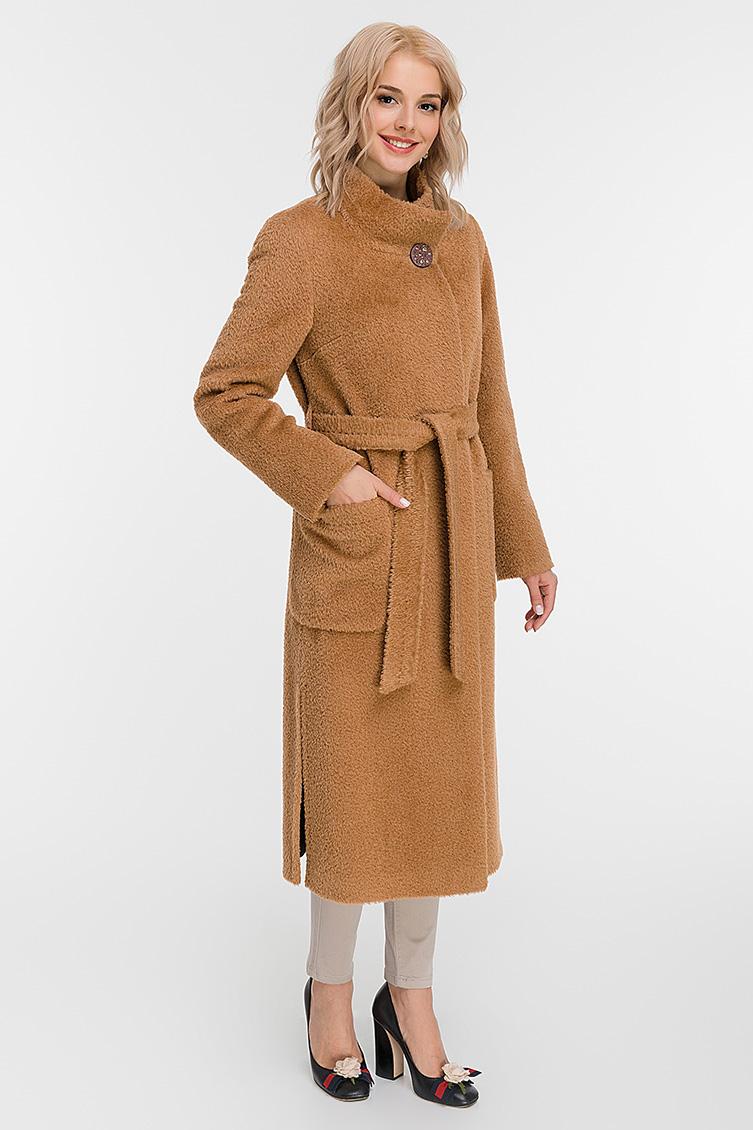 Длинное прямое пальто из альпака сури с воротником-стойкой фото