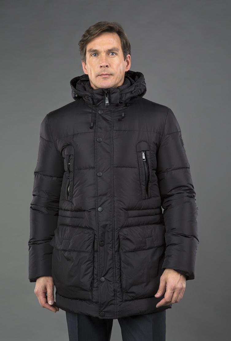 Длинный мужской пуховик ADD с большими карманами EAM003/A11-черный
