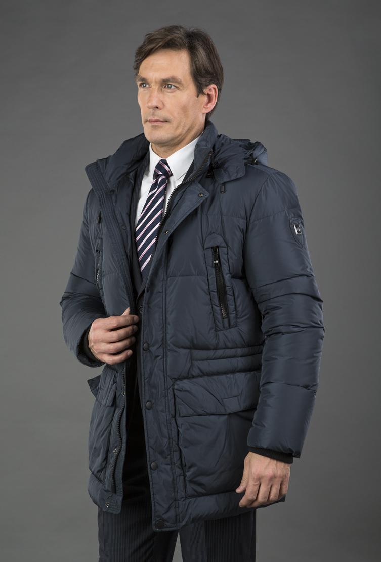 Синий мужской пуховик ADD с большими карманами EAM003/A11-темно-синий