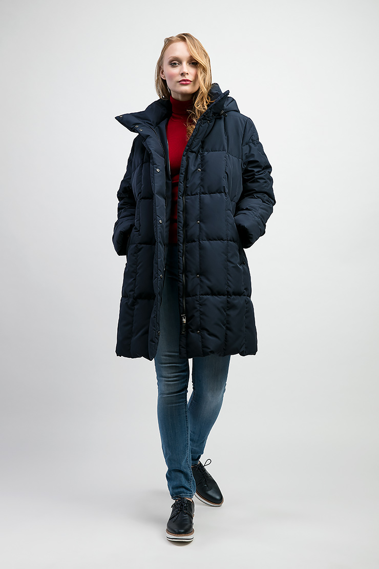 Прямой женский пуховик Joutsen для зимы ENNA/PE1-темно-синий