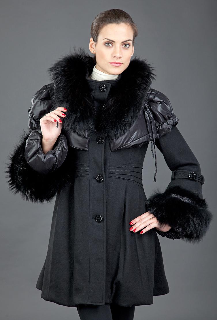 Экстравагантное пальто Foce ESMERALDA/F36-черный