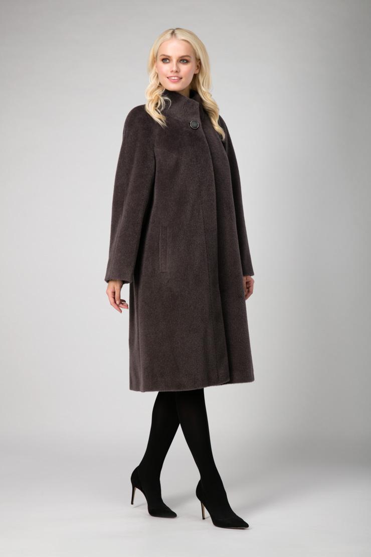 Женское длинное классическое пальто из альпака сури фото