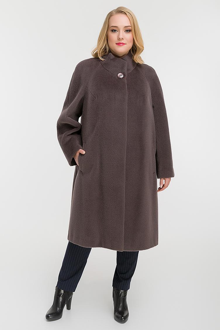 Расклешенное пальто на большой размер из сури альпака фото