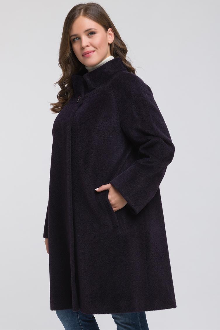 Модное пальто из альпака на большой размер, Eleonora/02_-фиолетовый