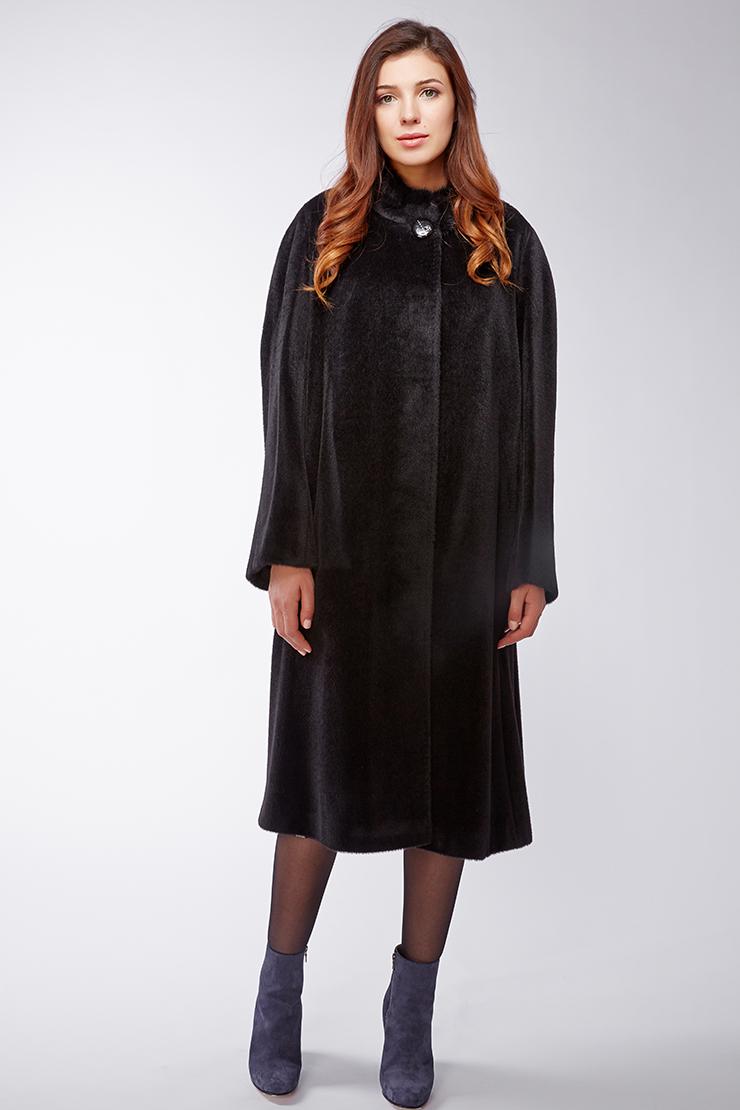 Длинное женское пальто из сури альпака на большой размер. Производитель: Leoni Bourget, артикул: 21902