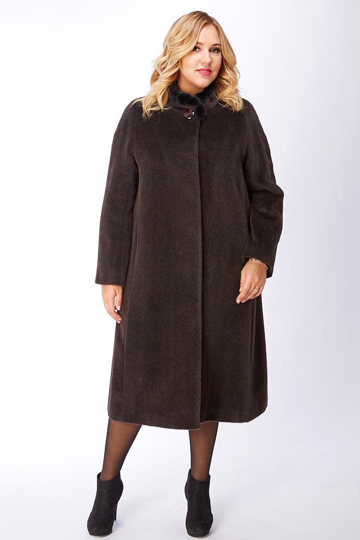 Длинное женское пальто оверсайз из альпака коричневого цвета Leoni Bourget Elisa/02_-шоколад