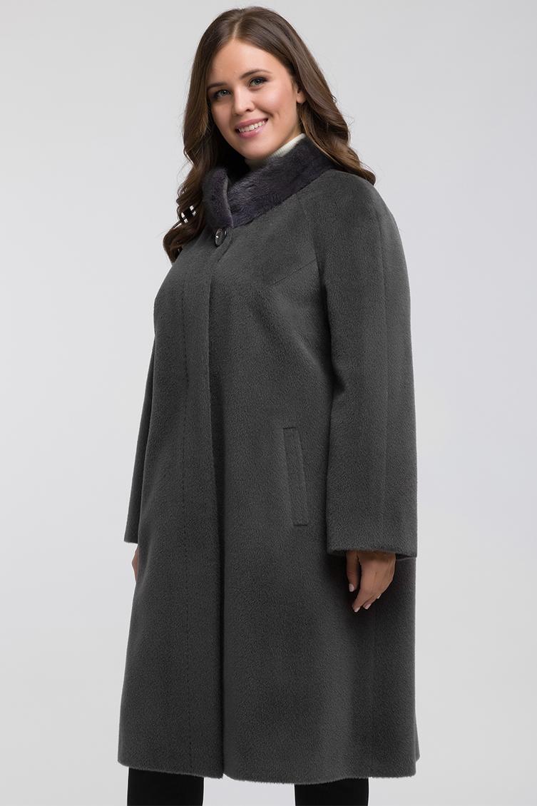 Длинное женское пальто из альпака для большого размера, Elmira/02AN_-графит
