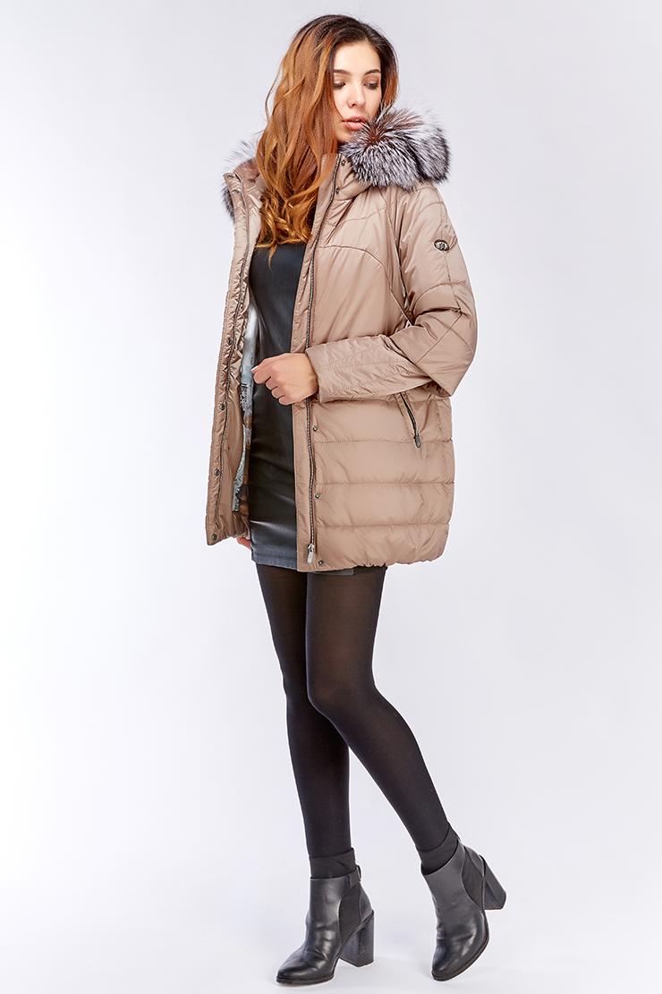 Модная удлиненная женская стеганая куртка с мехом и капюшоном, Laura Bianca