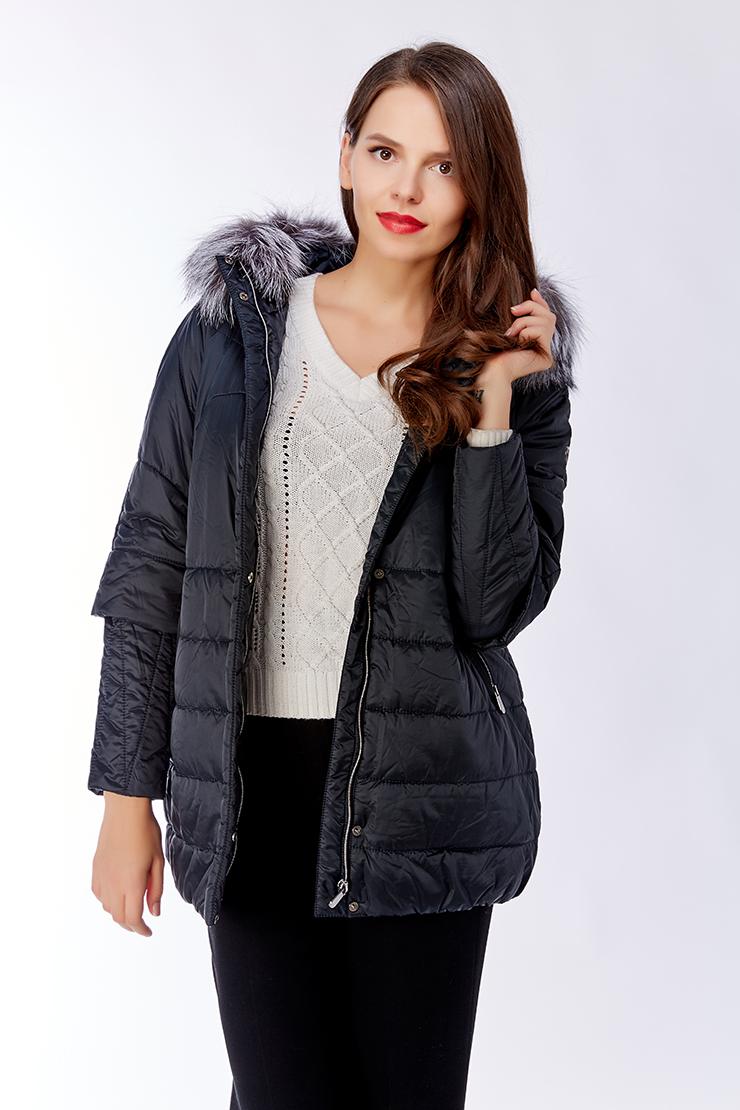 Темно-синяя зимняя женская куртка с мехом чернобурки Laura Bianca F119/R06-темно-синий