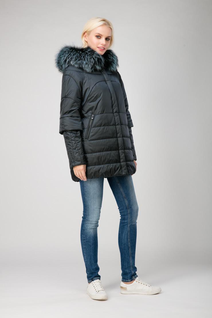 Демисезонная утеплённая женская куртка с мехом лисы, Laura Bianca