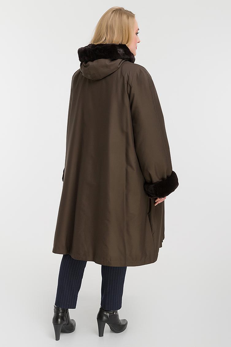 Расклешенное пальто на меху на большой размер фото