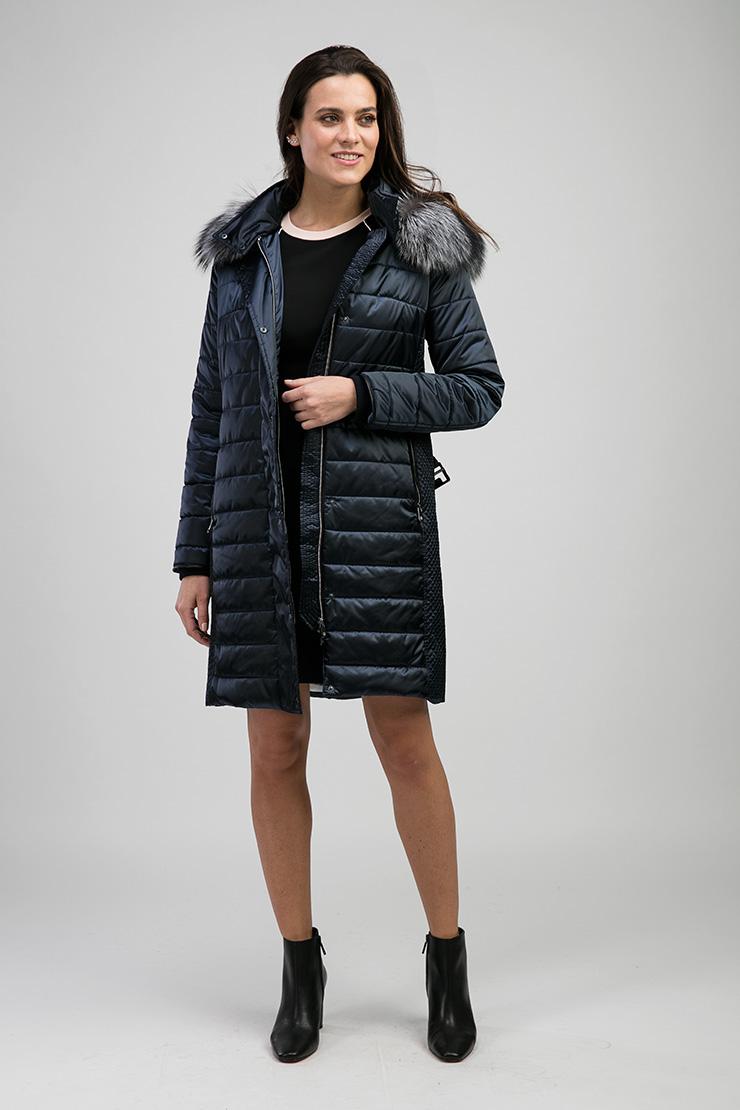 Темно-синее пальто с чернобуркой Laura Bianca F603/R06-синий