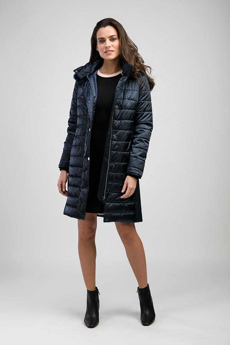Женское пальто российского производства с разностилевой прострочкой Laura Bianca F603/R07-синий
