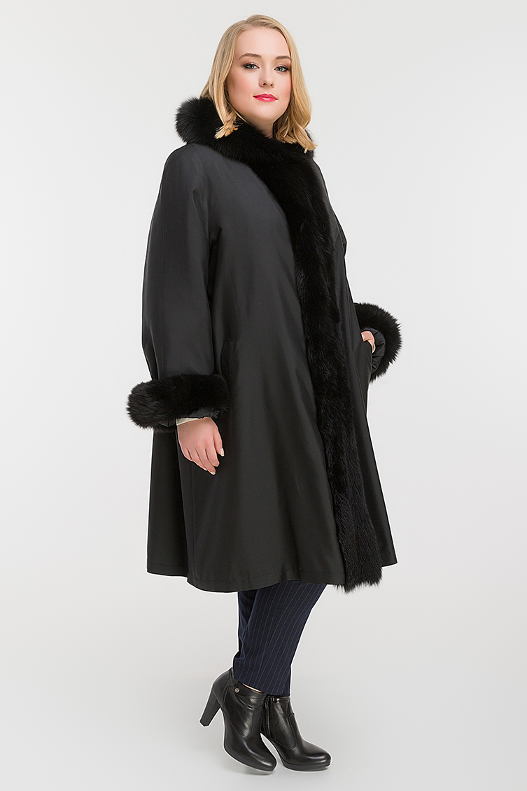 Длинное зимнее пальто на меху большого размераПальто<br>Длинное зимнее пальто на меху большого размера<br>Цвет: черный; Размер: 54, 56, 58, 60, 62, 64; Состав: 100% полиэстер. Меховая отделка - песец натуральный, подкладка - кролик натуральный; Материал: 100% полиэстер. Меховая отделка - песец натуральный, подкладка - кролик натуральный;