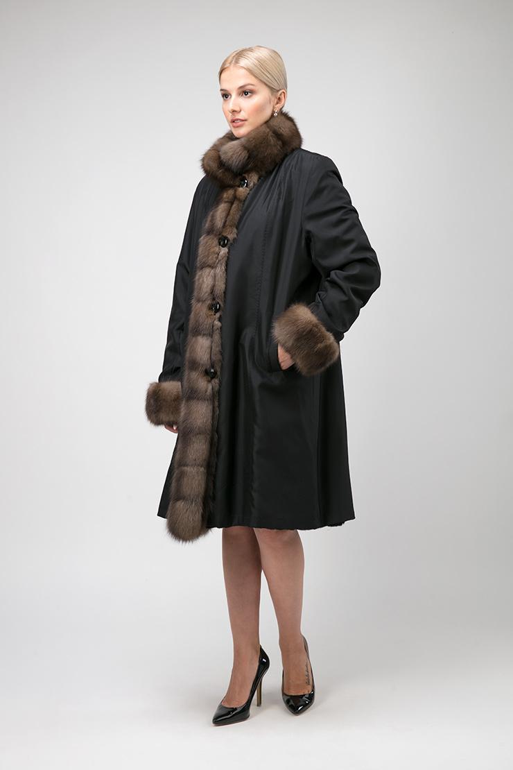 Теплое женское пальто на меху для зимы без капюшона фото