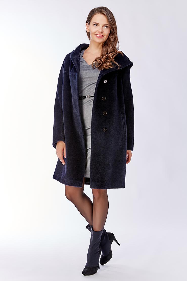 Пальто-кокон из альпака с капюшоном Leoni Bourget Feona/02A-темно-синий