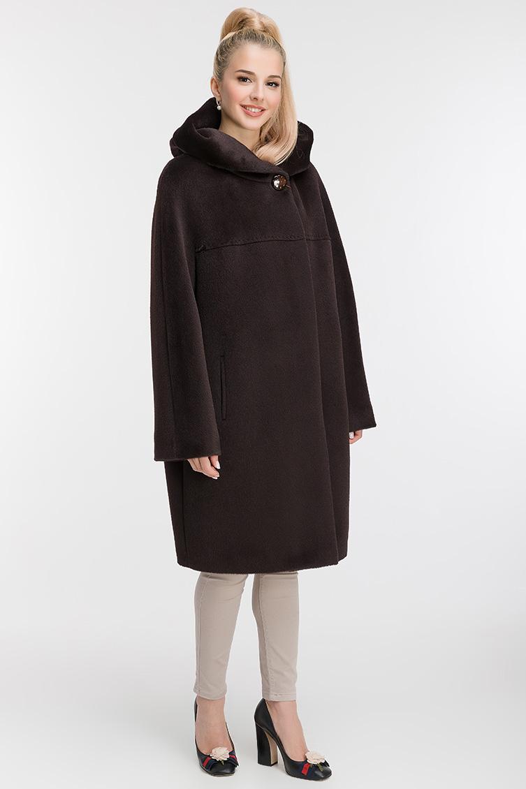 Пальто кокон средней длины из альпака