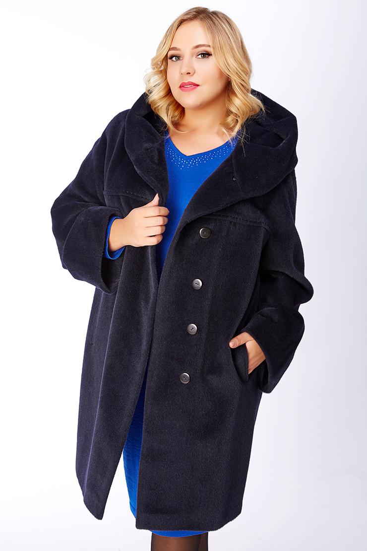 Темно-синее пальто из альпака на большой размер Leoni Bourget Feona/02-темно-синий
