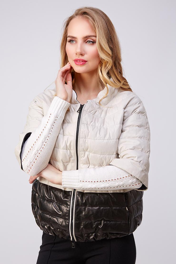 Кожаная двухцветная куртка-пуховик AFG на осень. Производитель: AFG, артикул: 21027