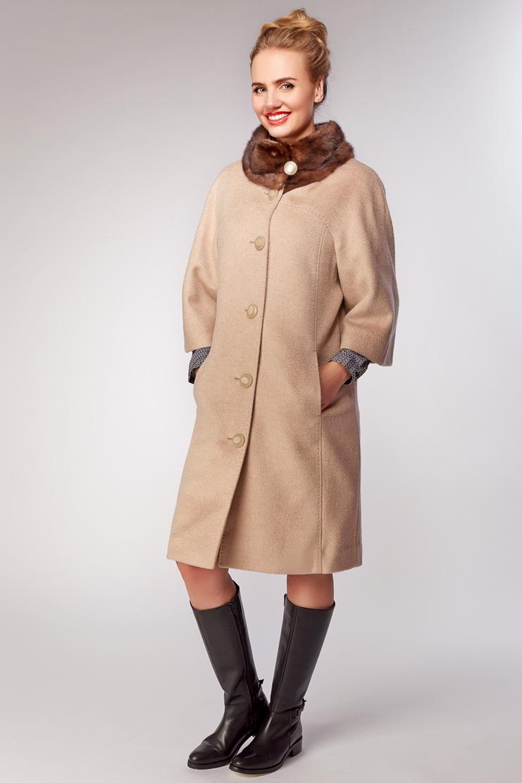 Бежевое пальто Garioldi с норковым мехом G438/3107-бежевый